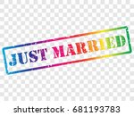 just married. rubber stamp...