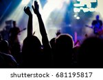 crowd with raised hands at... | Shutterstock . vector #681195817