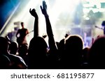 crowd with raised hands at... | Shutterstock . vector #681195877