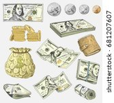 detailed currency banknotes or... | Shutterstock .eps vector #681207607