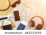 accessories for travel.... | Shutterstock . vector #681213193