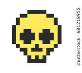 pixel skull pixel art cartoon...