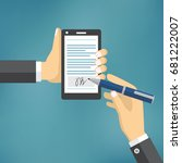 businessman hands signing... | Shutterstock .eps vector #681222007