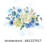 vintage watercolor bouquet with ... | Shutterstock . vector #681227017