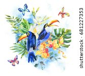 watercolor birds. tropical... | Shutterstock . vector #681227353
