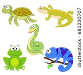 set of cartoon funny reptile.... | Shutterstock .eps vector #681230707