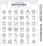 set of modern outline icons for ... | Shutterstock . vector #681241513