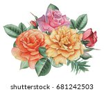 hand painted watercolor... | Shutterstock . vector #681242503
