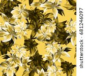 vibrant floral photo pattern... | Shutterstock . vector #681246097
