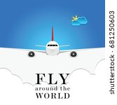airplane with fly around the... | Shutterstock .eps vector #681250603