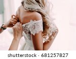 gorgeous  blonde bride in white ... | Shutterstock . vector #681257827