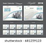 desk calendar 2018 template... | Shutterstock .eps vector #681259123