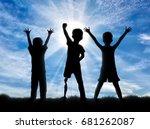 children with disabilities in... | Shutterstock . vector #681262087