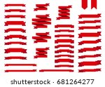 red ribbon set in  flat style... | Shutterstock .eps vector #681264277