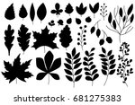 Set Of Autumn Silhouettes Of...