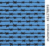 obstacle razorwire row isolated ...   Shutterstock .eps vector #681278893