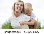 life moment of happy family... | Shutterstock . vector #681281527