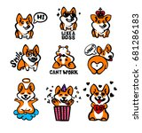 corgi emoji stickers  patches... | Shutterstock .eps vector #681286183