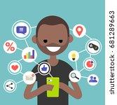 millennial consuming online... | Shutterstock .eps vector #681289663