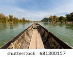 rare irawaddy dolphins boat... | Shutterstock . vector #681300157