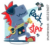 funny cartoon t rex rock star... | Shutterstock .eps vector #681315607