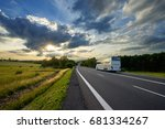bus traveling on the asphalt... | Shutterstock . vector #681334267