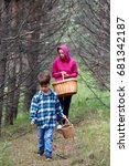 mom and son gather mushrooms... | Shutterstock . vector #681342187
