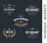 set of vintage retro restaurant ...   Shutterstock .eps vector #681343273