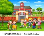 vector illustration of happy... | Shutterstock .eps vector #681366667