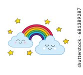 rainbows and cute clouds with... | Shutterstock .eps vector #681389287