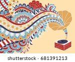 coloful gramaphone with floral... | Shutterstock .eps vector #681391213