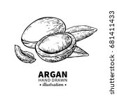 argan vector drawing. isolated... | Shutterstock .eps vector #681411433