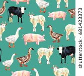 farm animal seamless pattern... | Shutterstock . vector #681423373
