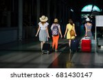 group of girls at the railway... | Shutterstock . vector #681430147