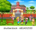 vector illustration of happy... | Shutterstock .eps vector #681431533