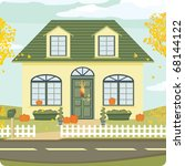 modest house decorated for fall ... | Shutterstock .eps vector #68144122