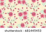 Stock photo seamless folk pattern in small wild flowers country style millefleurs floral meadow background 681445453