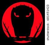bird raven sitting on a tree... | Shutterstock .eps vector #681451423