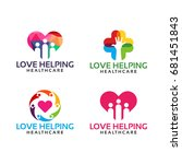 colorful love helping  care ... | Shutterstock .eps vector #681451843