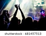 crowd with raised hands at... | Shutterstock . vector #681457513