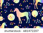 magic rainbow unicorn. seamless ... | Shutterstock . vector #681472207