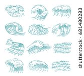 monochrome pictures set of... | Shutterstock .eps vector #681480283