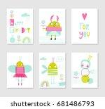 set of cute creative card... | Shutterstock .eps vector #681486793