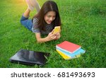 young girl student holding... | Shutterstock . vector #681493693