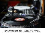 party dj turntable play vinyl... | Shutterstock . vector #681497983