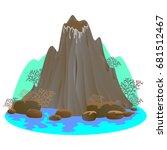 a set of volcanoes of varying... | Shutterstock .eps vector #681512467