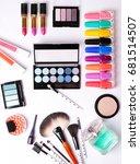 make up brush  perfume  eye... | Shutterstock . vector #681514507