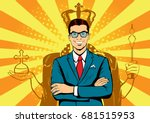 business king. businessman with ... | Shutterstock .eps vector #681515953