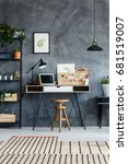 retro study interior with desk  ... | Shutterstock . vector #681519007