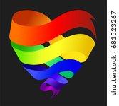 heart  from rainbow ribbon.... | Shutterstock .eps vector #681523267